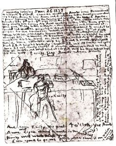 Гроз Страница из дневника Эмили Бронте, на которой изображена она с сестрой Энн, 1837 год