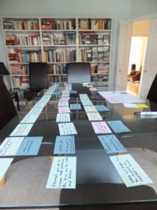 Планирование романа, сцены представлены карточками, ондон, лит наставник из Гардиан, Лондон